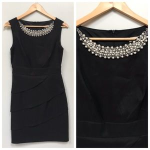 Black Cocktail Dress with Beading Detail